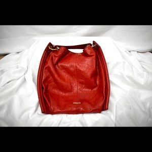 """""""Rebecca Minkoff"""" Red Leather Satchel PurseRemovable Strap, Lined."""